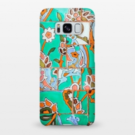 Galaxy S8+  Floral Morocco by Uma Prabhakar Gokhale (graphic design, pattern, floral, tiles, morocco, moroccan, nature, botanical, collage, digital manipulation, coral, flowers, blossom, bloom)