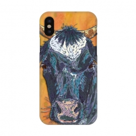 iPhone X  Cow in Yellow by Lotti Brown