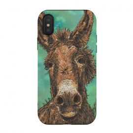 iPhone Xs / X  Little Brown Donkey by Lotti Brown (donkey,animal,pet)