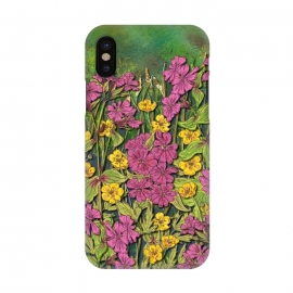 iPhone X  Pink and Yellow Wildflowers by Lotti Brown