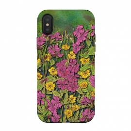 iPhone Xs / X  Pink and Yellow Wildflowers by Lotti Brown (wildflowers,flowers,floral,nature)