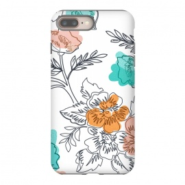 iPhone 8/7 plus  Floral Thoughts by Uma Prabhakar Gokhale (graphic design, pattern, watercolor, floral, nature, flowers, blush, coral, mint, leaves, blossom, bloom, botanical, fall, seasons)