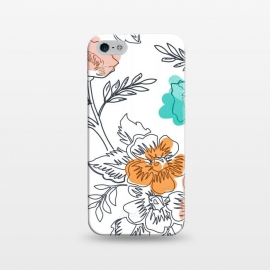 iPhone 5/5E/5s  Floral Thoughts by Uma Prabhakar Gokhale (graphic design, pattern, watercolor, floral, nature, flowers, blush, coral, mint, leaves, blossom, bloom, botanical, fall, seasons)