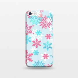 Pink blue metallic snowflakes by Oana
