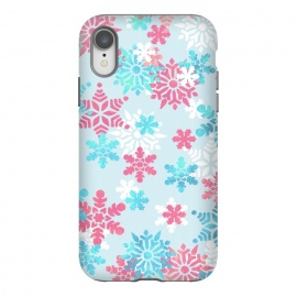 iPhone Xr  Pink blue metallic snowflakes by Oana