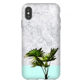 iPhone Xs Max  Palm Plant on Marble and Pastel Blue Wall by amini54