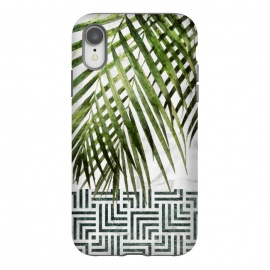 iPhone Xr  Palm Leaves on White Marble and Tiles by amini54