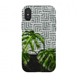 Monstera Leaves on Black Marble and Tiles by amini54