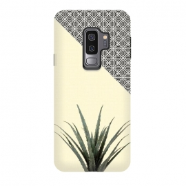 Galaxy S9 plus  Dracaena Plant on Lemon and Lattice Pattern Wall by