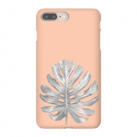 iPhone 8/7 plus  White Marble Monstera on Peach Wall by