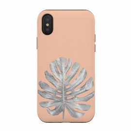 White Marble Monstera on Peach Wall by amini54