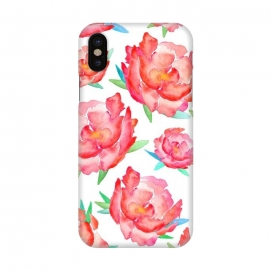 iPhone X  Blushed Out Peony  by Amaya Brydon (peony,flowers,flower,pink,blush,botanical,florals,red,pinks,spring)