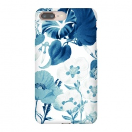 Indigo blue watercolor flowers by Oana