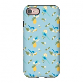 iPhone 8/7  Bird Scene by Sarah Price Designs (Bird,birds,blue,yellow,lemon,pear,fruit,blossom,flower)