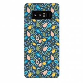 Galaxy Note 8  Orchard Birds by Sarah Price Designs (Woodland,Forest,Orchard,Garden,Bird,Birds,Fruit,Pear,Lemon,Blue,Yellow,Pink,Green,Flower,Nature,Pattern,Illustration)