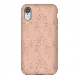 iPhone Xr  Pear Drops by Sarah Price Designs (Pink,gray,pear,fruit,food,illustration,pattern)