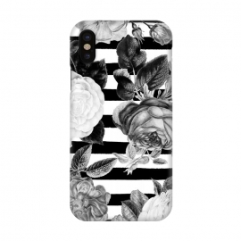 iPhone X  Black and white roses botanical illustration on black stripes by Oana