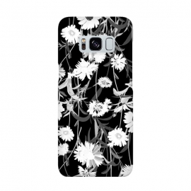 White daisies botanical illustration on black background by Oana