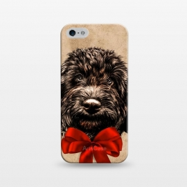 iPhone 5/5E/5s  Dog Cute Vintage Puppy Pet with Red Bow by BluedarkArt