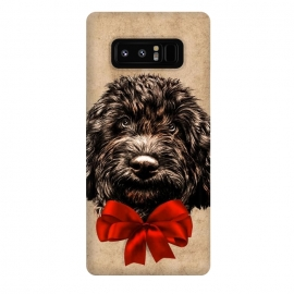 Galaxy Note 8  Dog Cute Vintage Puppy Pet with Red Bow by
