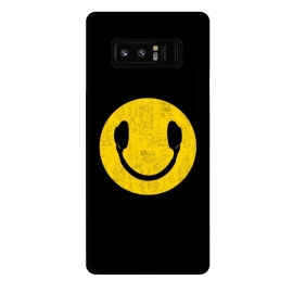 Galaxy Note 8  Smiley Headphones by  (smiley, headphones,music,head phones,smiley headphones,smile,pop,popart,pop art,yellow,cool,top,trend,love)