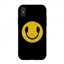 iPhone Xs / X  Smiley Headphones by  (smiley, headphones,music,head phones,smiley headphones,smile,pop,popart,pop art,yellow,cool,top,trend,love)
