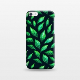 iPhone 5C  Dark Abstract Green Leaves Pattern by Boriana Giormova