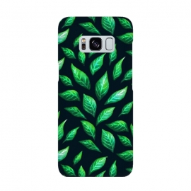 Dark Abstract Green Leaves Pattern by Boriana Giormova