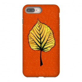 Yellow Linden Leaf On Orange | Decorative Botanical Art by Boriana Giormova (linden leaf, autumn leaf, autumn, autumn season, autumnal, fall season, fall, yellow leaf, orange, yellow, leaf, nature, plant, foliage, illustration, floral, abstract, decorative, flora, drawn, leaves, playful, botanical, leaf art, botanical design, nature love, nature lover, nature lovers, bizarre)