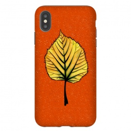 iPhone Xs Max  Yellow Linden Leaf On Orange | Decorative Botanical Art by