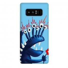 Galaxy Note 8  Funny Monster In Blue With Flower by Boriana Giormova