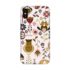 iPhone X  Scandinavian Flowers in Mustard and Pink by