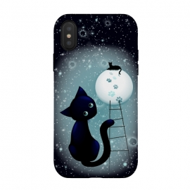 iPhone Xs / X  Blue Kitty Dream on the Moon by BluedarkArt (cat, black cat, kitty, black kitty, cute cat, cute kitty, feline, dreamy cat, cat lovers, cats, animals, pets, surreal, moon, moonlight, stars, starry sky, full moon, pale moonlight, cat laying on moon, prints, cat prints, paw prints, stairs, dream, blue cat, blue kitty, night, romantic, surrealism,)