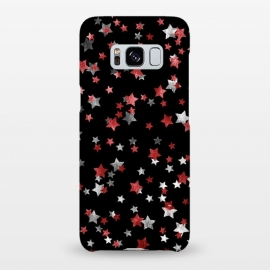 Galaxy S8+  Metallic silver copper party stars on black by Oana