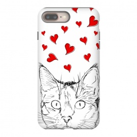 Cute line art cat and red hearts by Oana