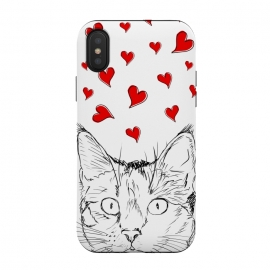 iPhone Xs / X  Cute line art cat and red hearts by