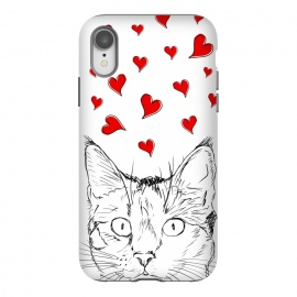 iPhone Xr  Cute line art cat and red hearts by Oana