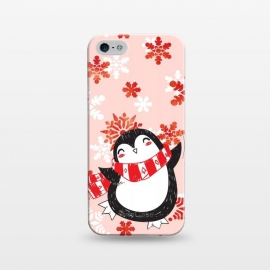 iPhone 5/5E/5s  Happy penguin and metallic snowflakes - winter illustration by