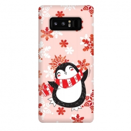 Galaxy Note 8  Happy penguin and metallic snowflakes - winter illustration by Oana