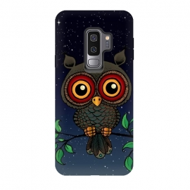 Galaxy S9 plus  Under the stars by  (owl,bird,bight,stars,animal,eyes,cute,dark,nature,wildlife,hoot,birds,owls,adorable,kids,nursery,feathers,branch,forest,tree,relax,enjoy)