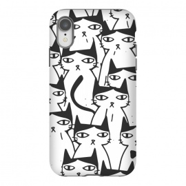 iPhone Xr  Cats by  (ink pen, colored pencil, pattern, black white, comic, cats, pets, animal, christmas, humor, animal pattern)