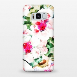 Galaxy S8+  Flower Love by Uma Prabhakar Gokhale (watercolor, other, pattern, surrealism, floral, flowers, nature, tropical, exotic, pink, leaves, beauty, vibrant)