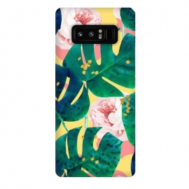 Galaxy Note 8  Be Here Now by Uma Prabhakar Gokhale (graphic design, watercolor, other, pattern, abstract, floral, nature, gold, roses, flowers, monstera, tropical, exotic, metallic)