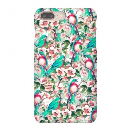 iPhone 8/7 plus  Birds & Flowers by  (graphic design, watercolor, acrylic, pattern, vector, birds, animals, floral, nature, blossom, summer, chirp, bloom, flourish, tropical)