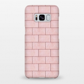 Blush Brick Imperfection by Uma Prabhakar Gokhale (graphic design, pattern, bricks, geometrical, pink, wall, blush, lines, seamless, pepeating, abstract, texture, architecture, nature, stone)