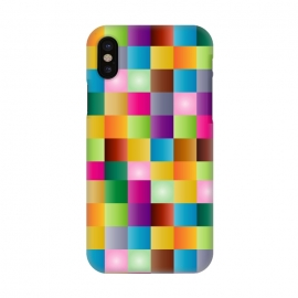iPhone X  multi colour squares by MALLIKA