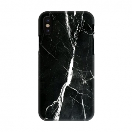 iPhone X  Elegant black marble with white cracks by Oana