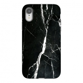 iPhone Xr  Elegant black marble with white cracks by