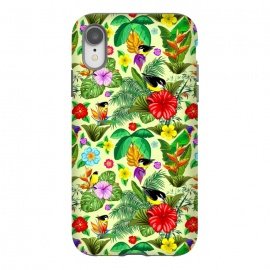 iPhone Xr  Birds and Nature Floral Exotic Seamless Pattern by BluedarkArt