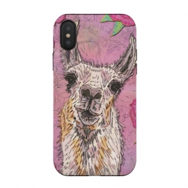 iPhone Xs / X  Perfectly Pink Llama by Lotti Brown (llama,alpaca,animal,pet,pink,cute,pretty)